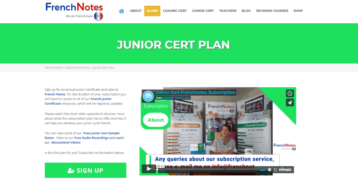 Junior Cert French Plan