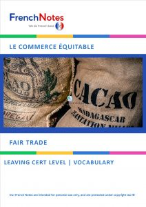 Fair Trade Vocabulary French Notes