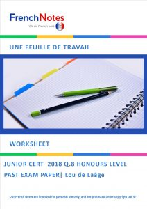 French Notes Junior Cycle Worksheet